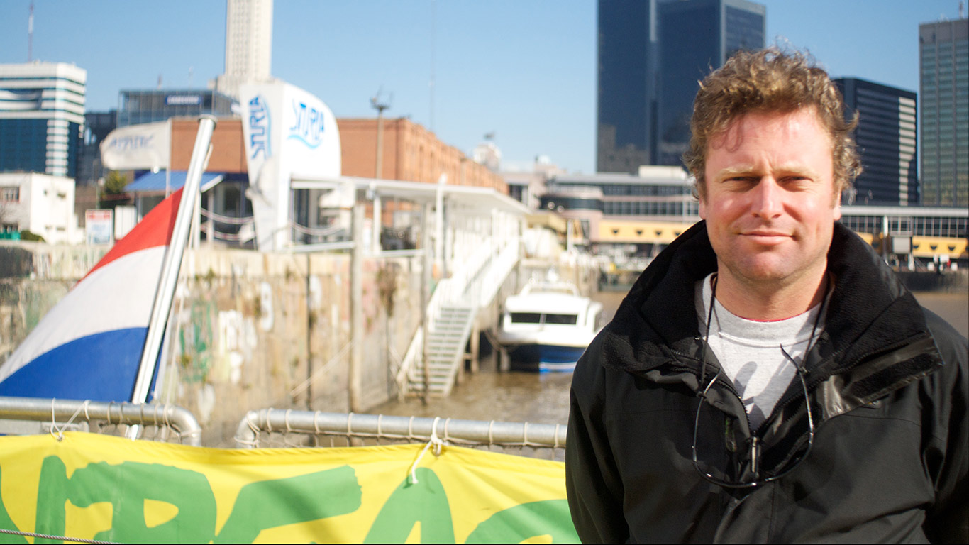 Rainbow Warrior III's first mate Daniel Binyon on board in Buenos Aires.
