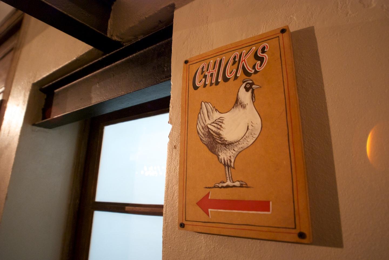 Chicks bathroom sign