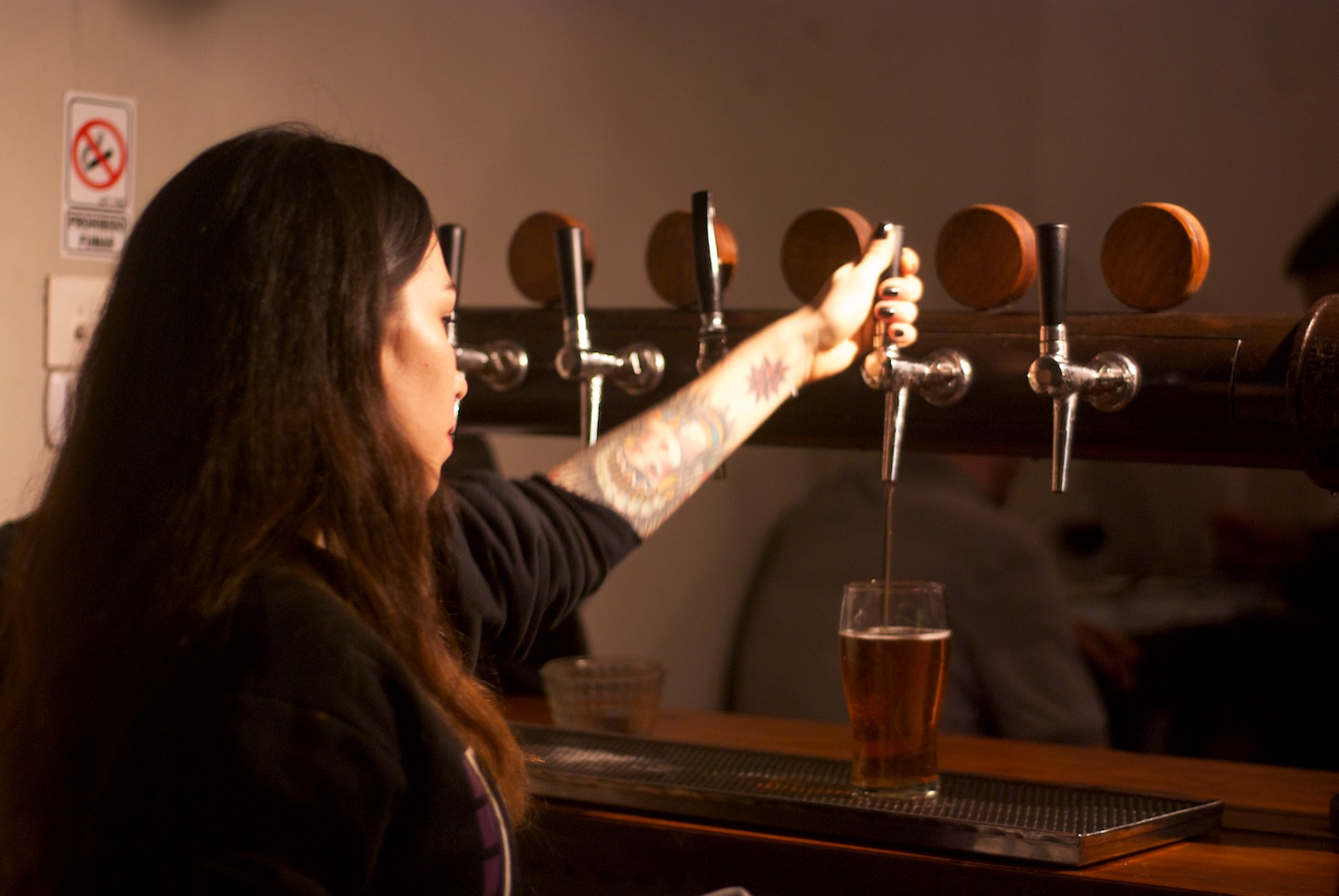 Pulling the draft beer
