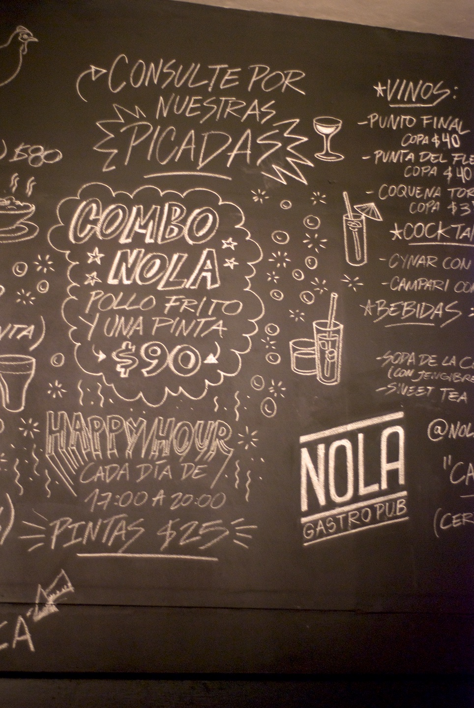 Menu chalkboard at NOLA