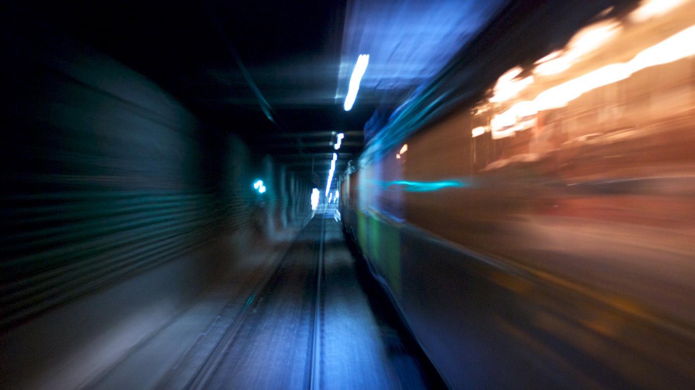 A-line subway car speeding through the subway