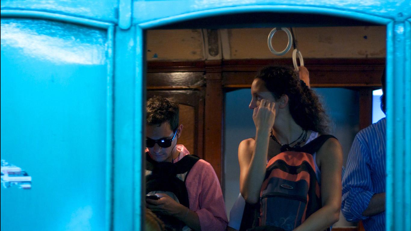 A-line passengers seen through the window