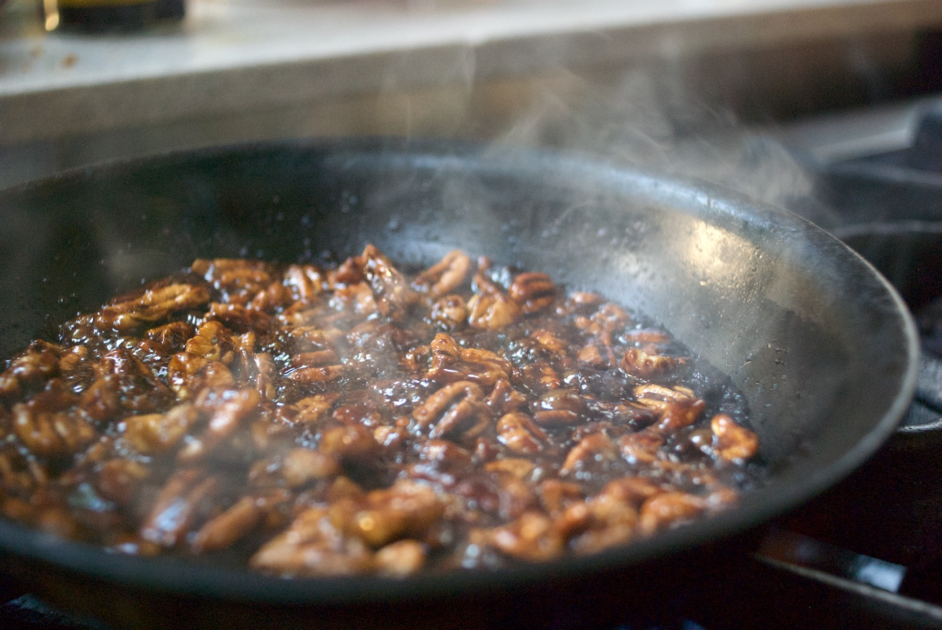 Making candied pecans for salad at Asado Adventure