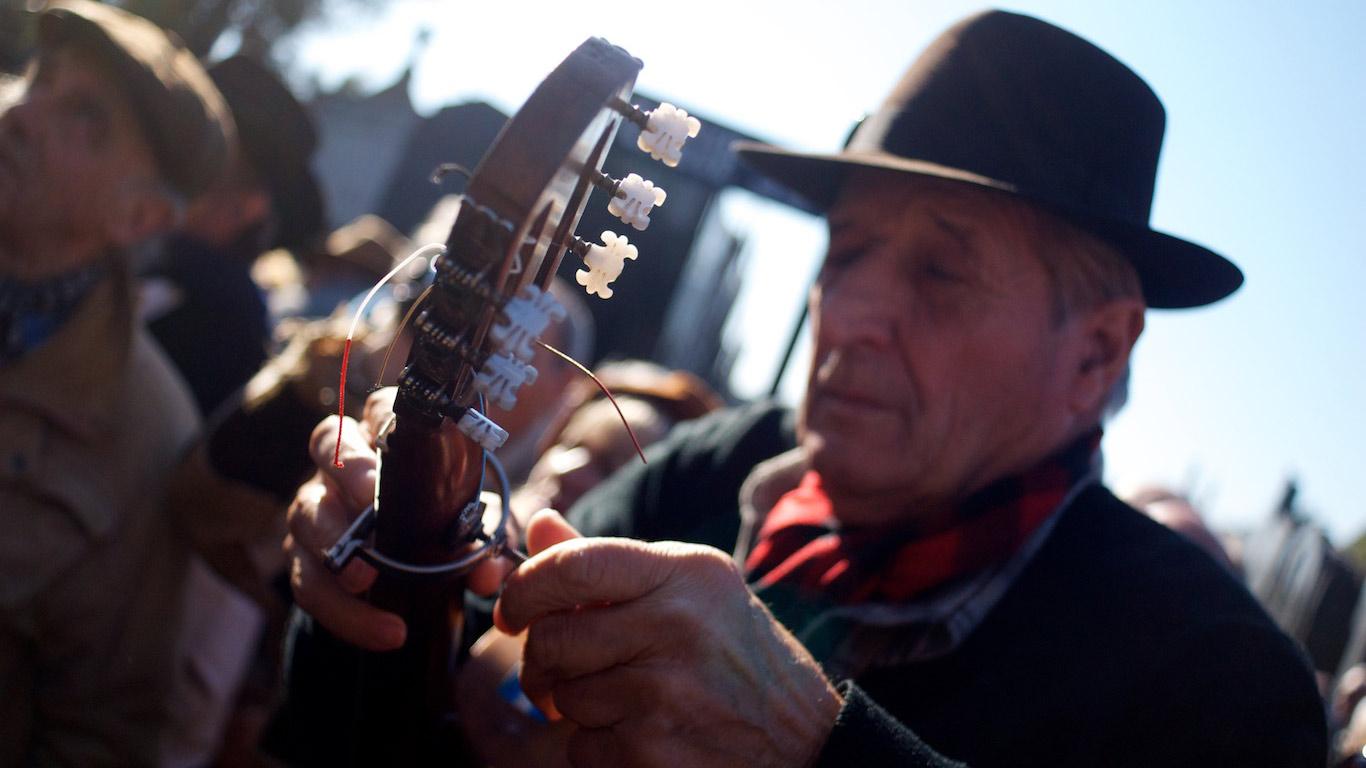 Guitarist at Carlos Gardel's tomb