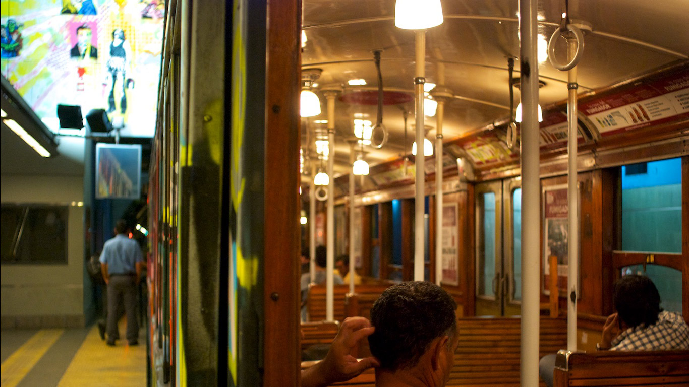 Old lighting of the A-line subway cars