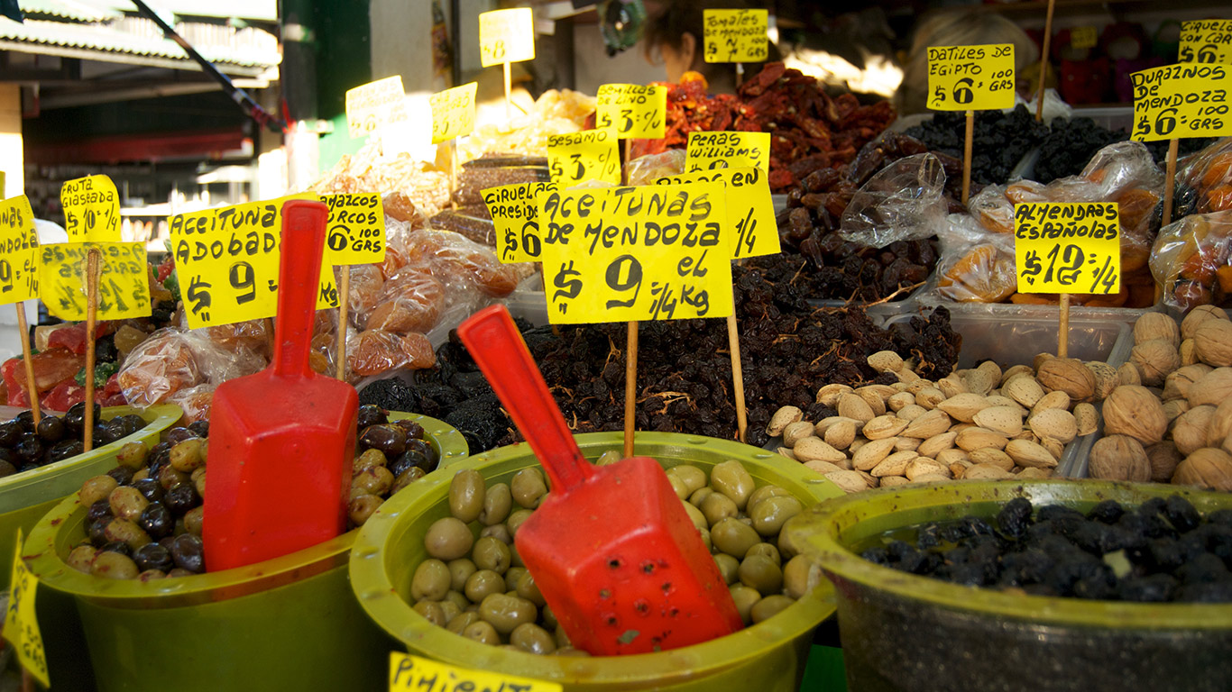 Olives and nuts for sale